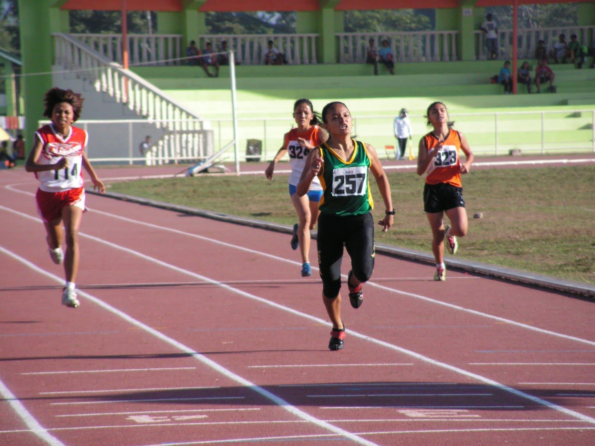 Leah Joan Creer on her last meter stride.