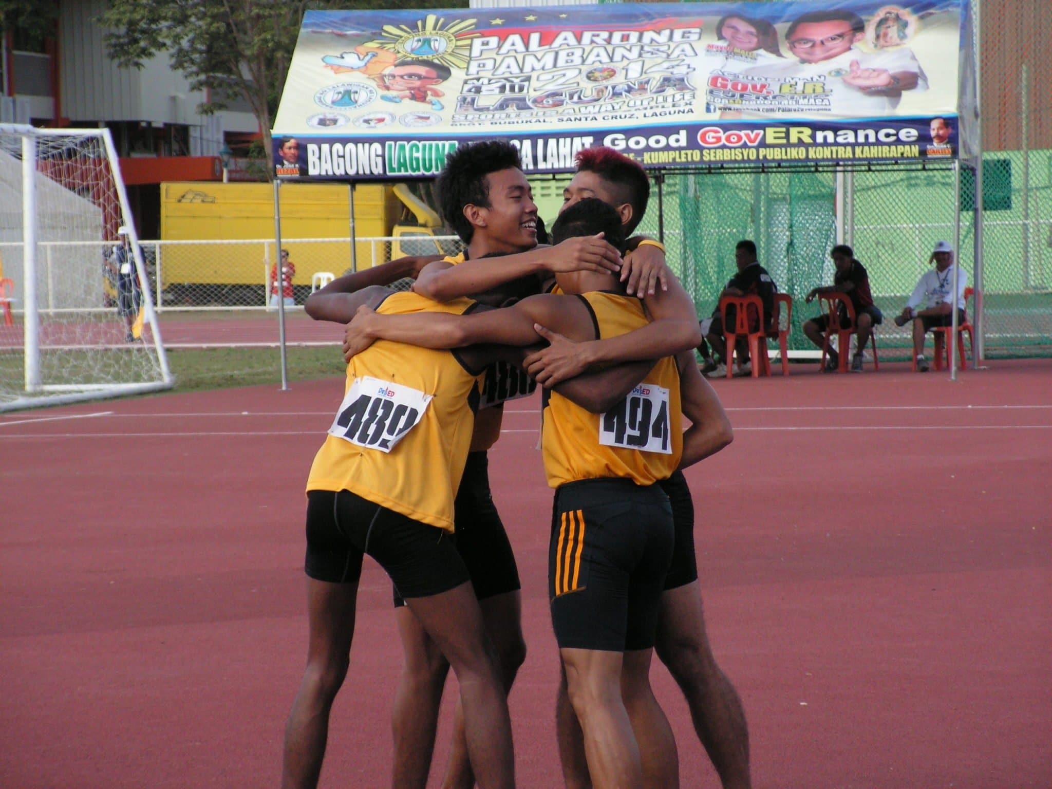 NCRAA Athletics Team celebrating after their double win in relays.