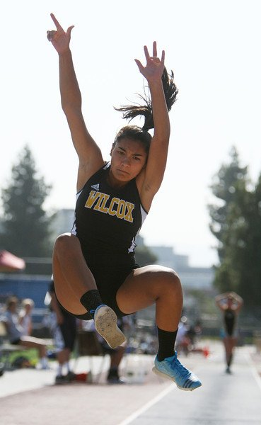 Marissa leaping for Wilcox High School