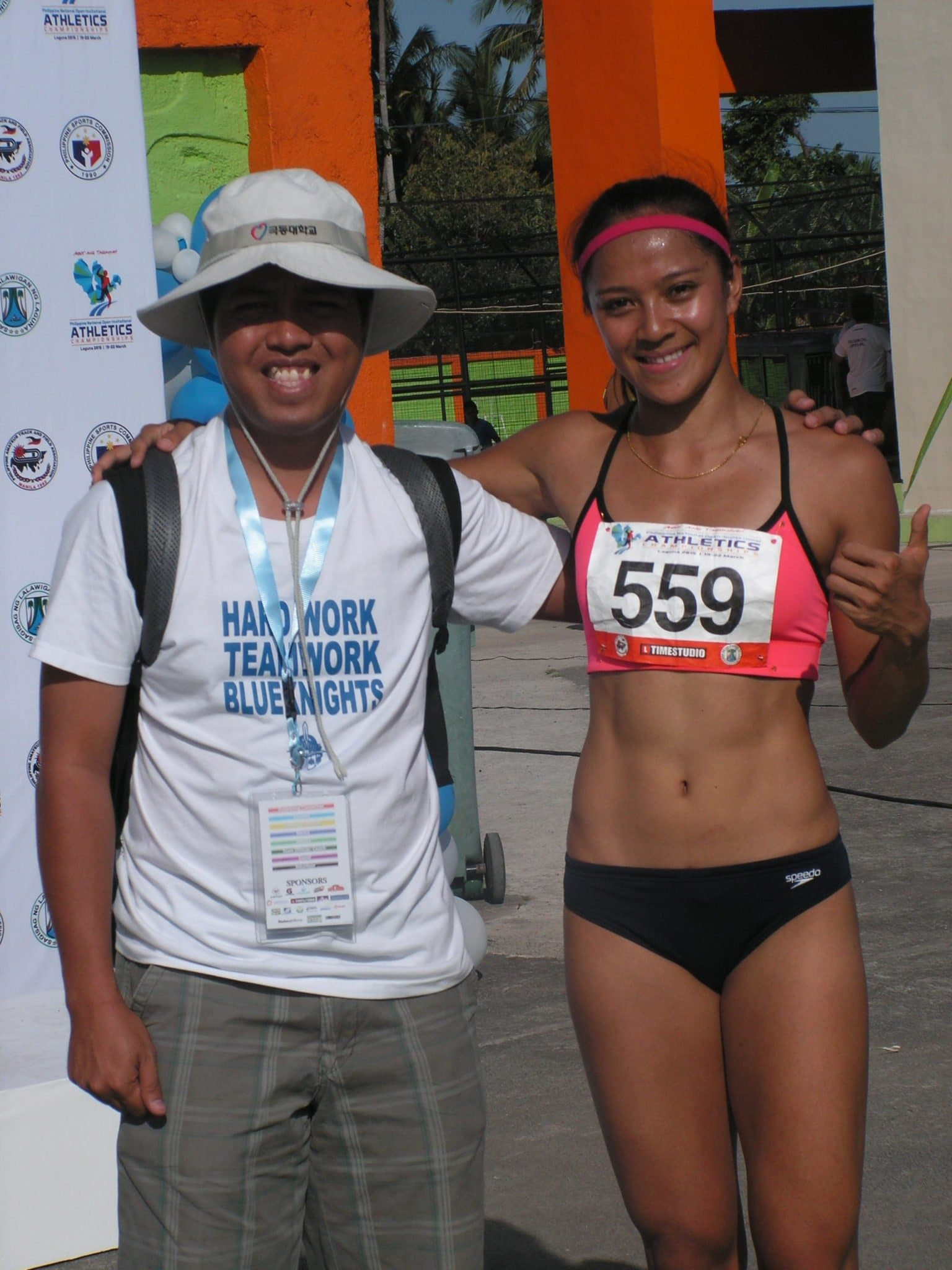 Prof. Airnel T. Abarra with Katherine Khay Santos during the 2015 National Open.