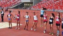 Contestants in Womens Long Jump (136) Santos, (137) Torres, (41) Londa