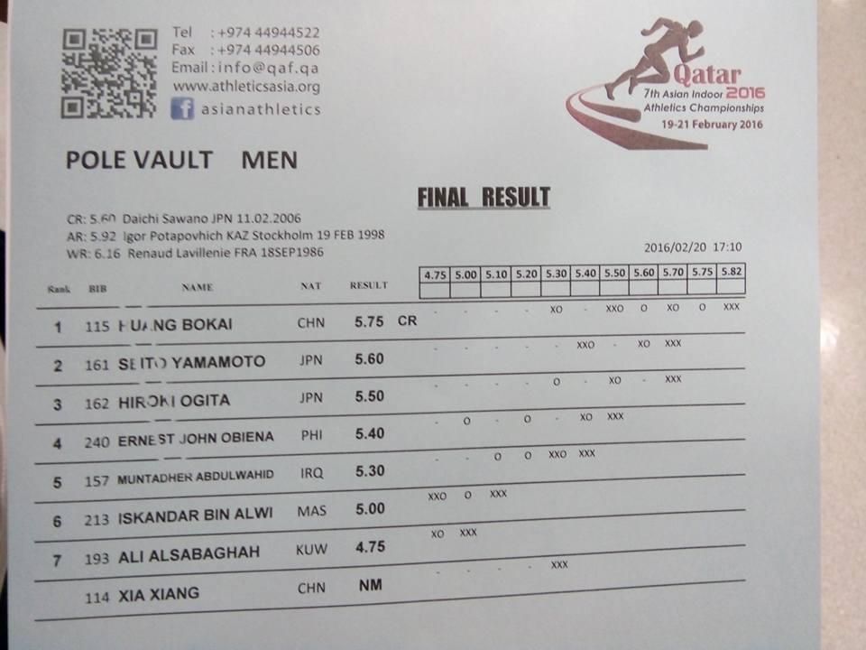 Asian Indoors 2016 Pole Vault