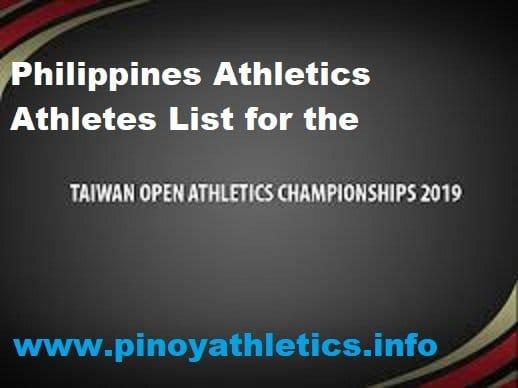 2019 Taipei Open Athletics Results